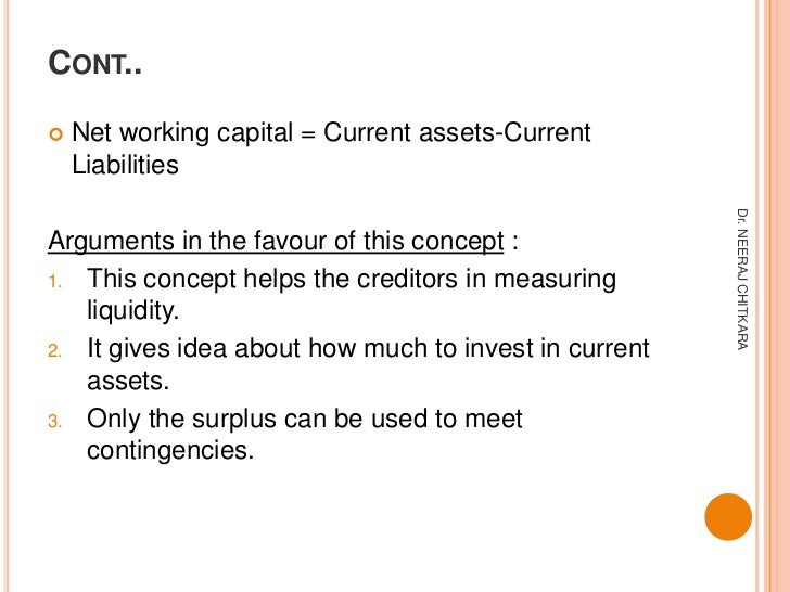 CONT..   Net working capital = Current assets-Current    Liabilities                                                     ...