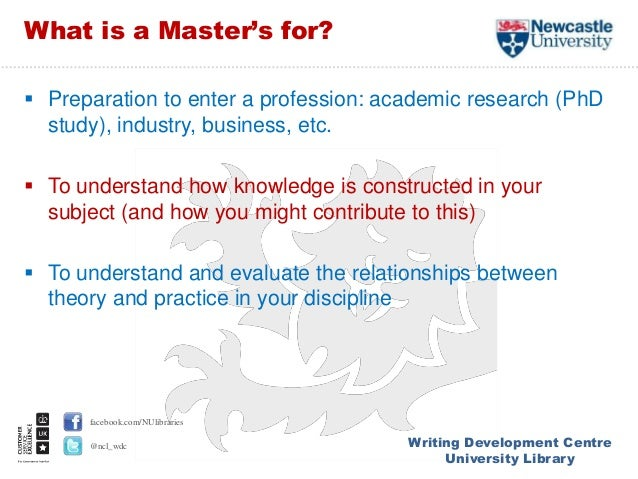 writing at masters level Many master's in english & creative writing degree programs allow bennington college's master of fine arts in writing degree is accredited by the.