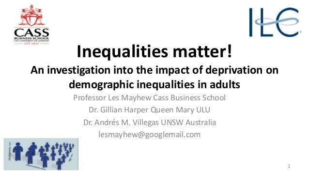 Inequalities matter! An investigation into the impact of deprivation on demographic inequalities in adults Professor Les M...