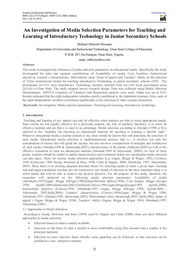 Journal of Education and Practice                                                                     www.iiste.orgISSN 22...