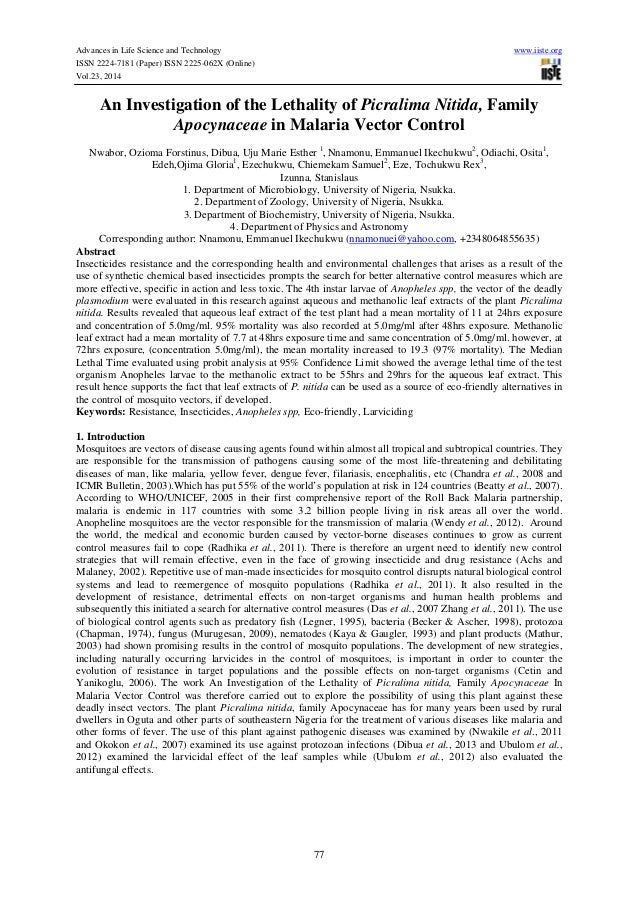 literature review on picralima nitida
