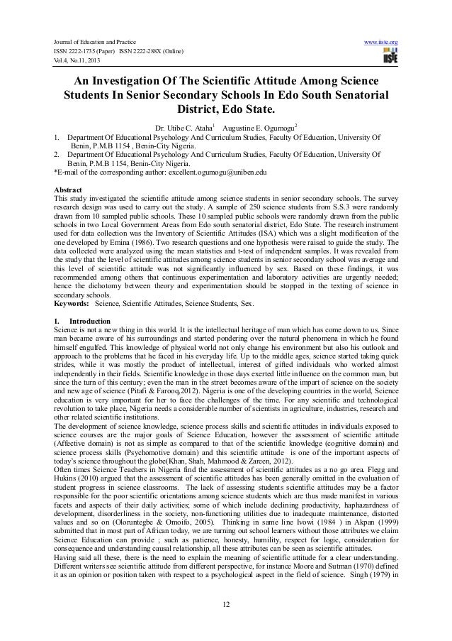 Journal of Education and Practice www.iiste.org ISSN 2222-1735 (Paper) ISSN 2222-288X (Online) Vol.4, No.11, 2013 12 An In...