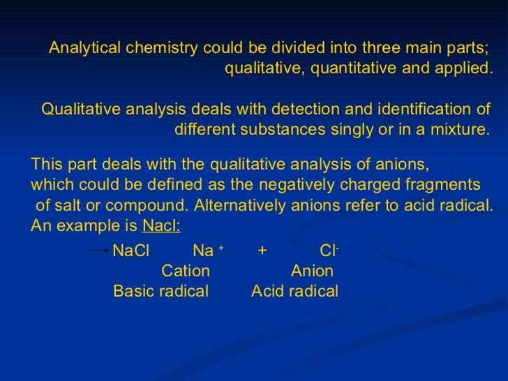 qualitative analysis of anions Quliatative analysis for testing of cations, anions and gases cations are distinguished from adding sodium hydroxide and aqueous ammonia, while testing of anions.