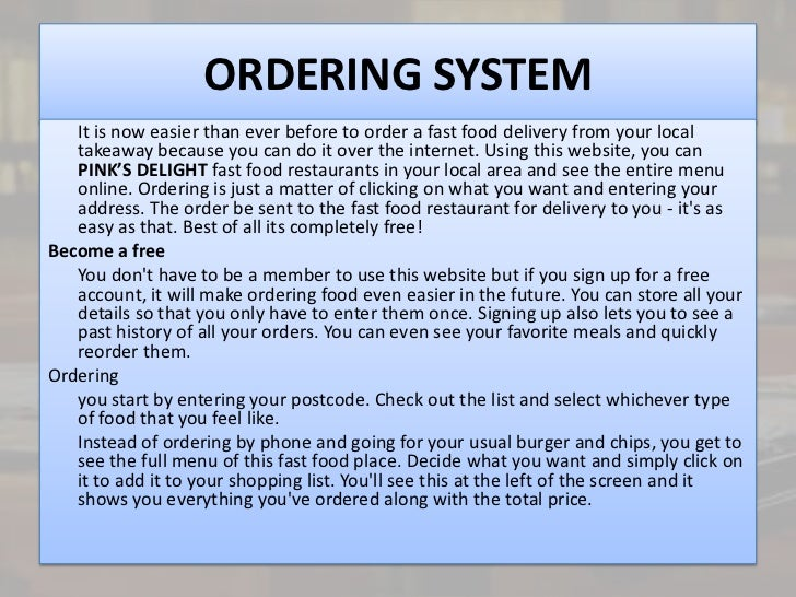 Restaurant ordering system proposal