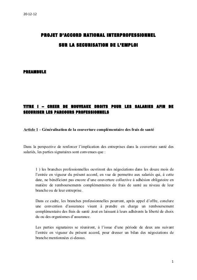20-‐12-‐12                     PROJET D'ACCORD NATIONAL INTERPROFESSIONNEL                            SUR LA SECURIS...