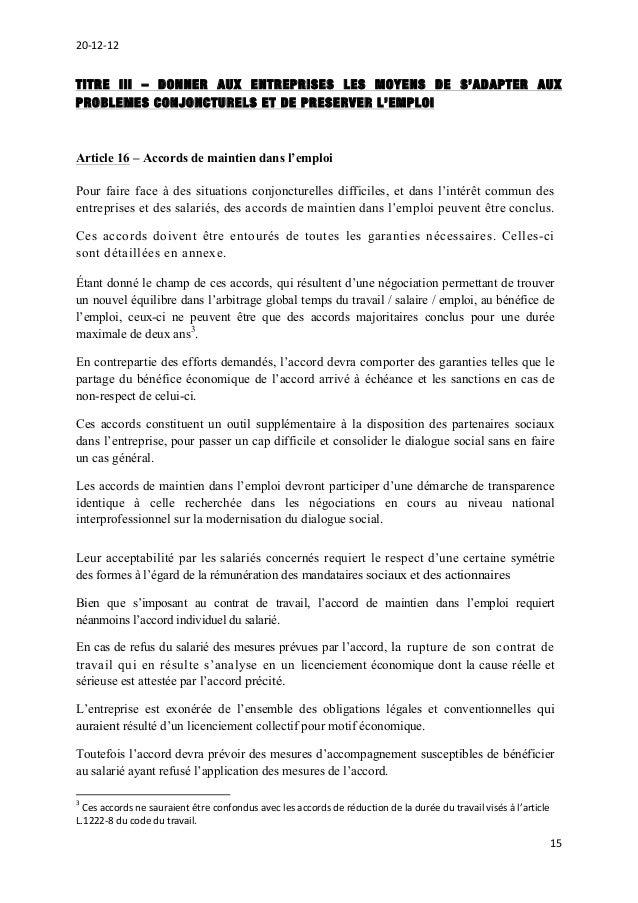 Projet D Accord National Interprofessionnel Sur La Securisation De L