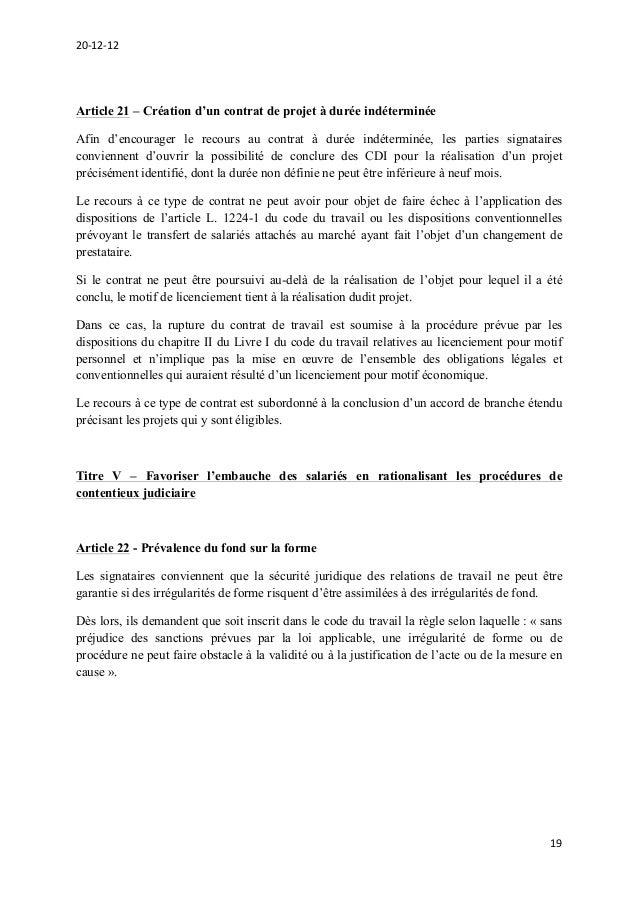 Projet D Accord National Interprofessionnel Sur La