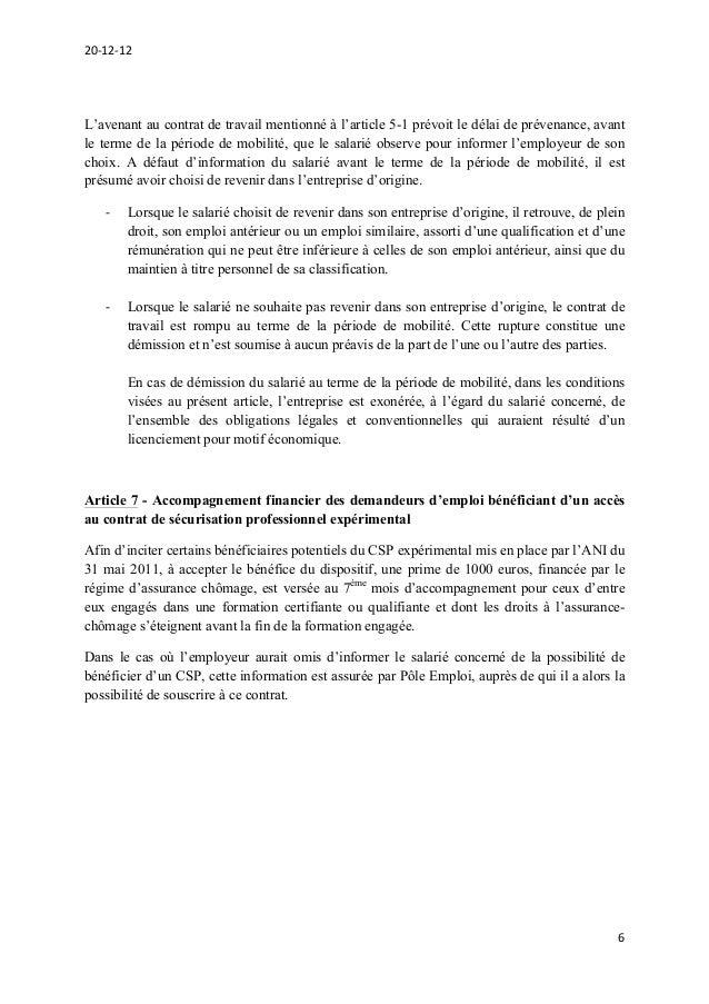 Projet d'accord national interprofessionnel sur la sécurisation de l'…