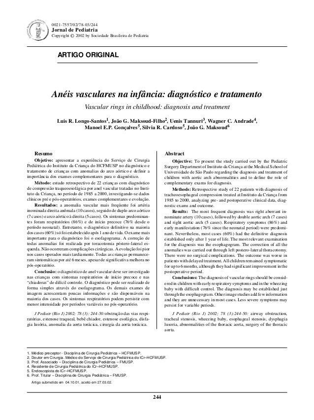 244 Jornal de Pediatria - Vol. 78, Nº3, 2002 ARTIGO ORIGINAL 244 0021-7557/02/78-03/244 Jornal de Pediatria Copyright © 20...
