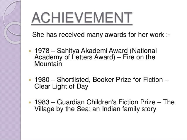 the village by the sea by anita desai essay 1 researched by visal the village by the sea 1 - anita desai anita desai's village by the sea is set in a small village called thul, which is 14 kilometres from bombay lila, the eldest child among four siblings, is but thirteen years of age, yet she already has the outlook and maturity of an adult.