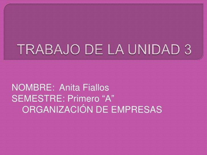 """NOMBRE: Anita FiallosSEMESTRE: Primero """"A""""  ORGANIZACIÓN DE EMPRESAS"""