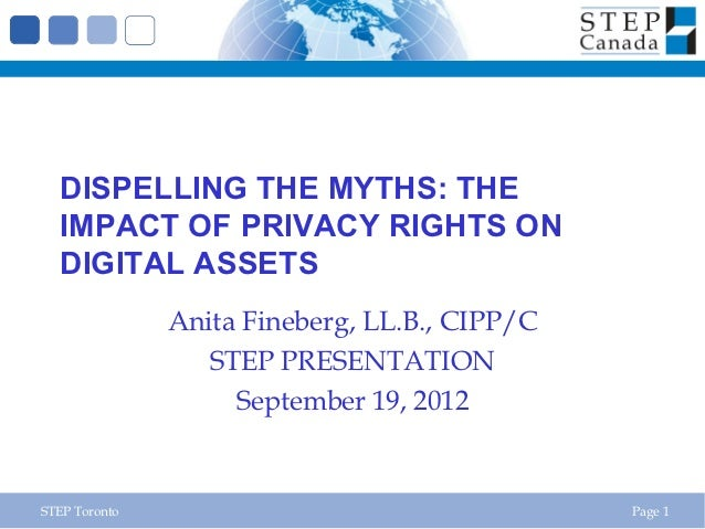 DISPELLING THE MYTHS: THE  IMPACT OF PRIVACY RIGHTS ON  DIGITAL ASSETS               Anita Fineberg, LL.B., CIPP/C        ...