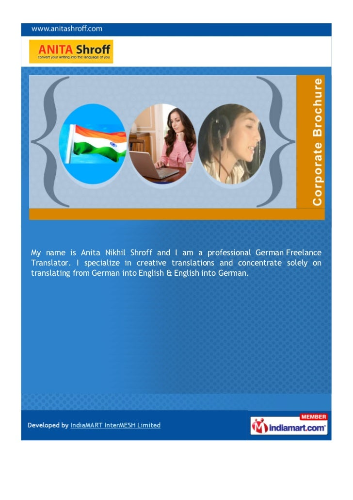 anita shroff  pune  german freelance translator