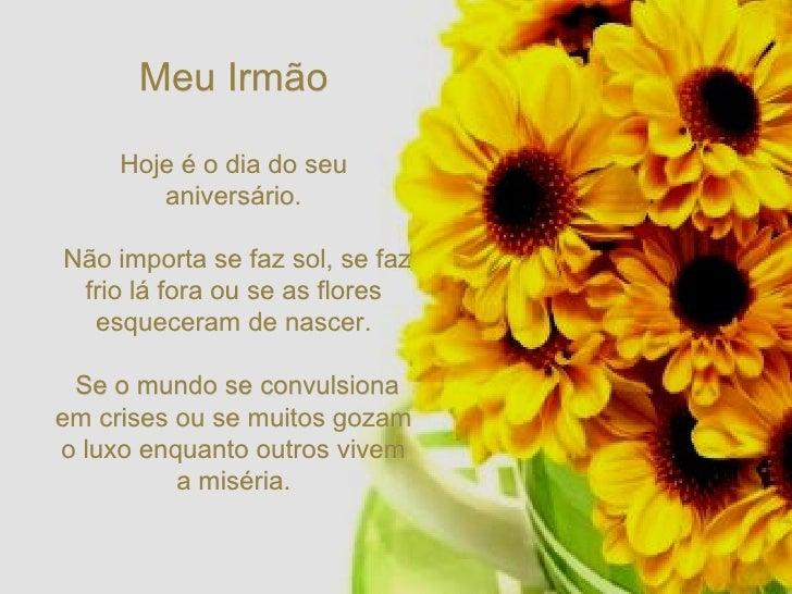 Meu Irmão Hoje é o dia do seu aniversário. Não importa se faz sol, se faz frio lá fora ou se as flores esqueceram de nasce...
