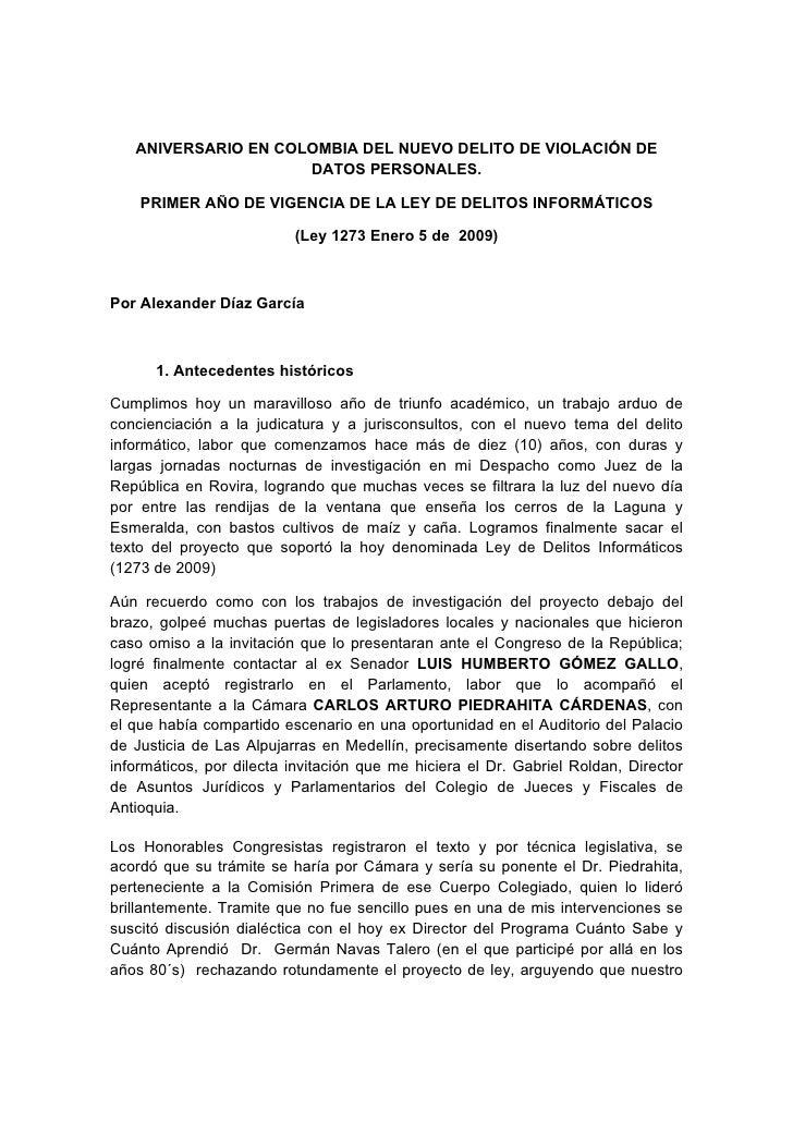 ANIVERSARIO EN COLOMBIA DEL NUEVO DELITO DE VIOLACIÓN DE                      DATOS PERSONALES.      PRIMER AÑO DE VIGENCI...