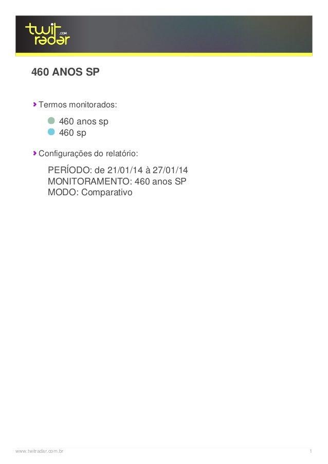 460 ANOS SP Termos monitorados:  460 anos sp 460 sp Configurações do relatório:  PERÍODO: de 21/01/14 à 27/01/14 MONITORAM...