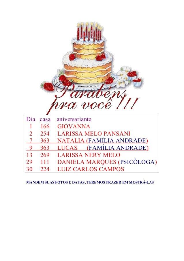 Dia casa aniversariante 1 166 GIOVANNA 2 254 LARISSA MELO PANSANI 7 363 NATALIA (FAMÍLIA ANDRADE) 9 363 LUCAS (FAMÍLIA AND...