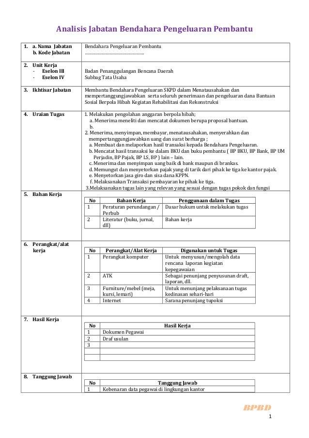 Analisis Jabatan Bendahara Pengeluaran Pembantu1. a. Nama Jabatan    Bendahara Pengeluaran Pembantu   b. Kode Jabatan    …...