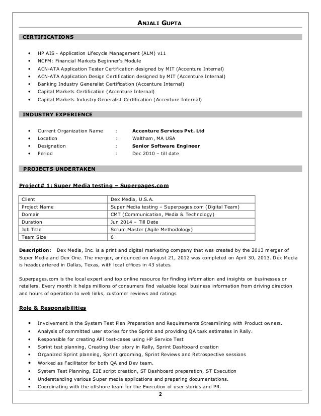 agile methodology testing resume