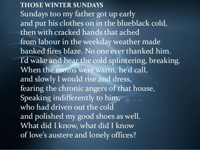 robert hayden those winter sundays