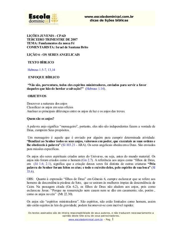 www.escoladominical.com.br                                                   dicasdeliçõesbíblicasLIÇÕESJUVENIS CP...