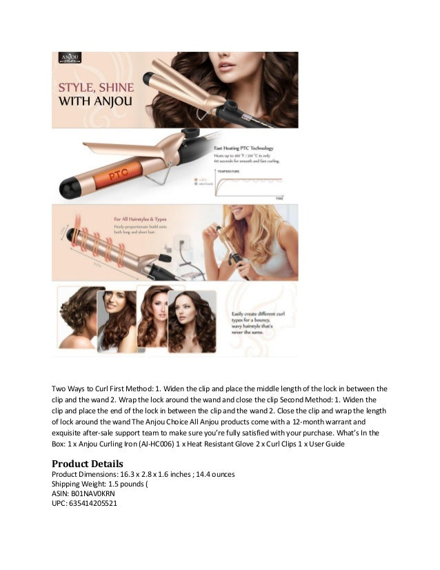 Anjou Curling Iron 1 25 Inch With Tourmaline Ceramic Coating