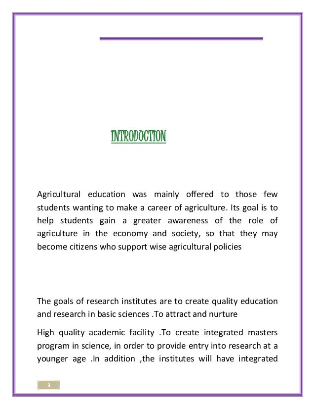 3  INTRODUCTION  Agricultural education was mainly offered to those few  students wanting to make a career of agriculture....
