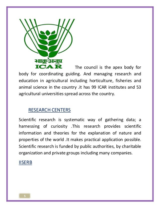 5  The council is the apex body for  body for coordinating guiding. And managing research and  education in agricultural i...