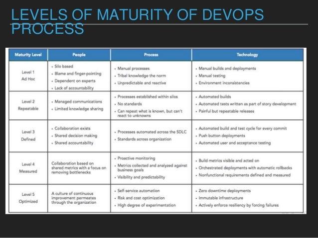 LEVELS OF MATURITY OF DEVOPS PROCESS