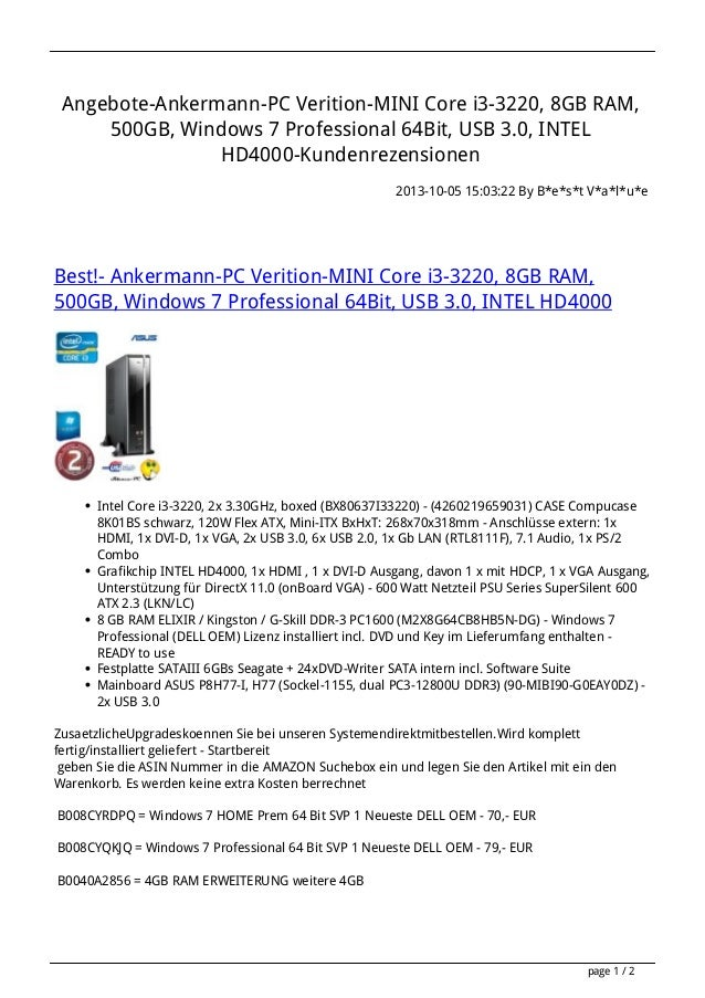 Angebote-Ankermann-PC Verition-MINI Core i3-3220, 8GB RAM, 500GB, Windows 7 Professional 64Bit, USB 3.0, INTEL HD4000-Kund...