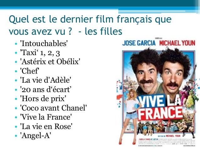 Quel est le dernier film français que vous avez vu ? - les filles • 'Intouchables' • 'Taxi' 1, 2, 3 • 'Astérix et Obélix' ...