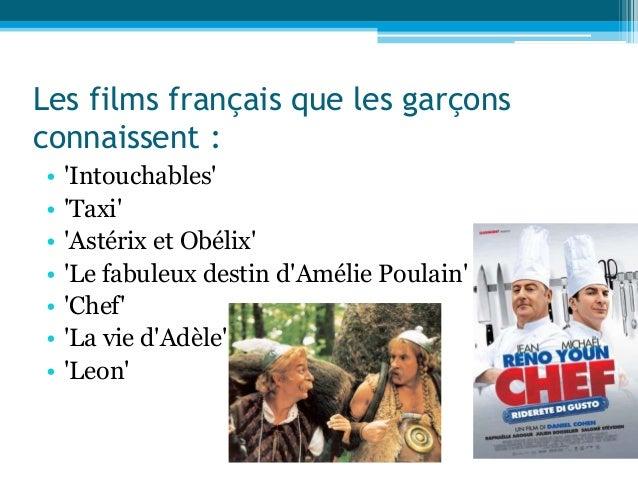 Les films français que les garçons connaissent : • 'Intouchables' • 'Taxi' • 'Astérix et Obélix' • 'Le fabuleux destin d'A...