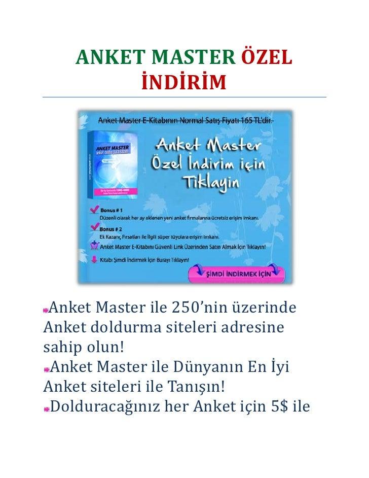 ANKET MASTER ÖZEL İNDİRİM<br />