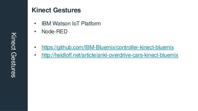Kinect GesturesKinectGestures • IBM Watson IoT Platform • Node-RED • https://github.com/IBM-Bluemix/controller-kinect-blue...