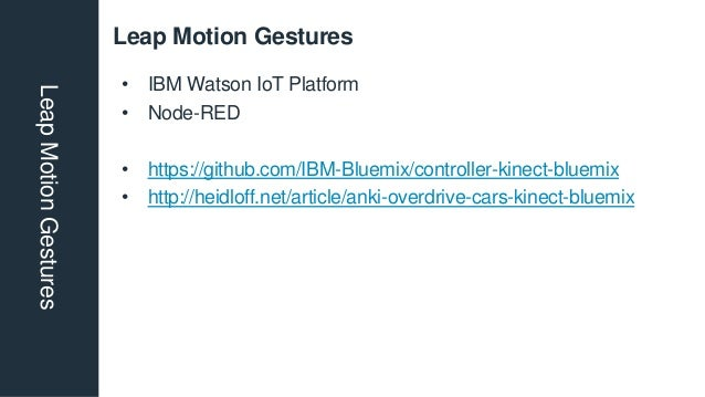 Leap Motion GesturesLeapMotionGestures • IBM Watson IoT Platform • Node-RED • https://github.com/IBM-Bluemix/controller-ki...