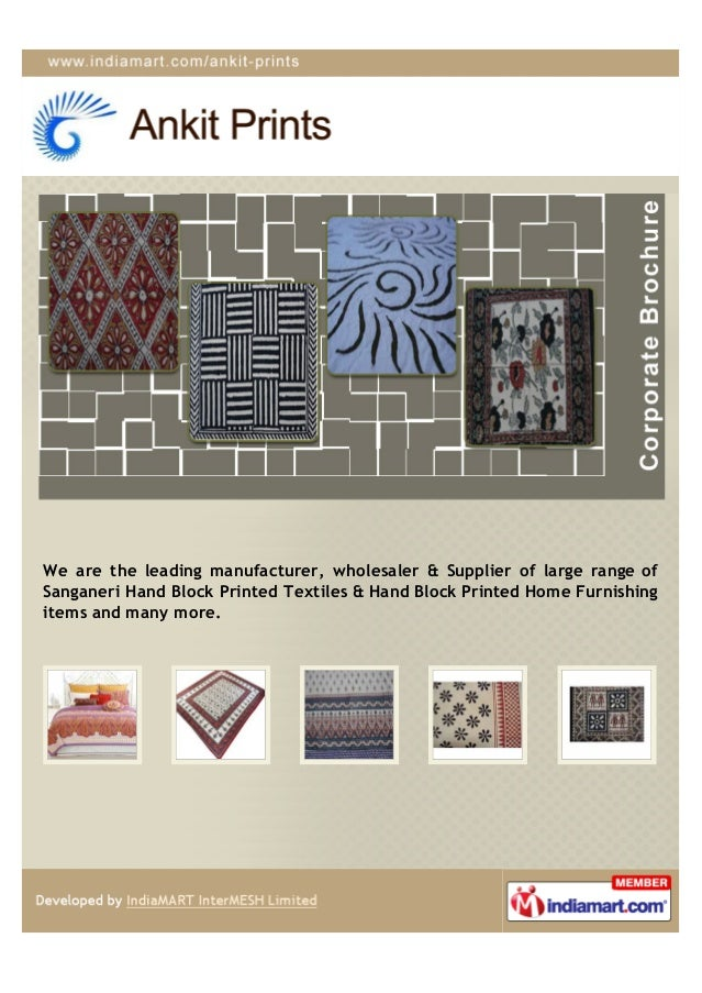 We are the leading manufacturer, wholesaler & Supplier of large range ofSanganeri Hand Block Printed Textiles & Hand Block...