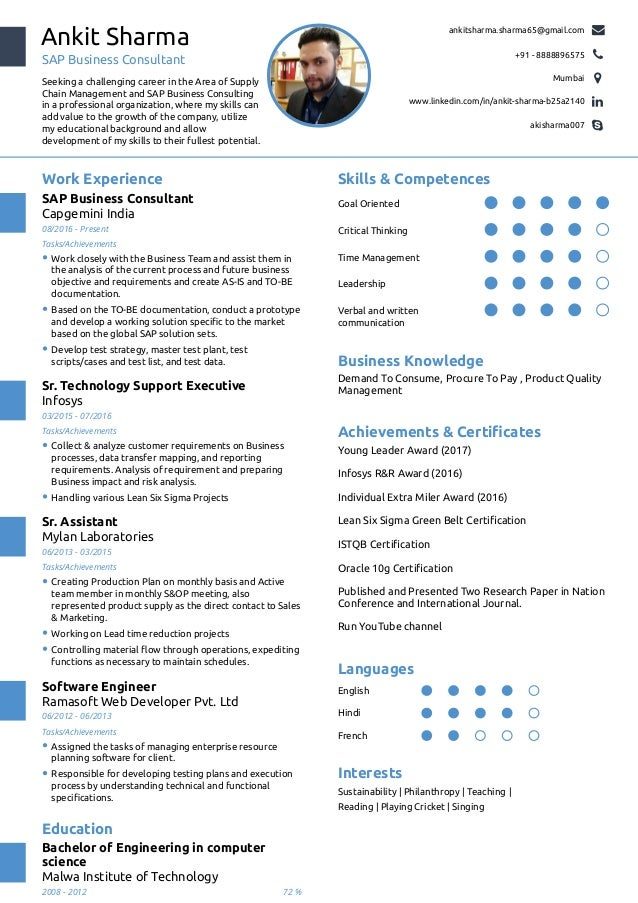 One Page Resume. Ankit Sharma SAP Business Consultant Seeking A Challenging  Career In The Area Of Supply Chain Management  1 Page Resume