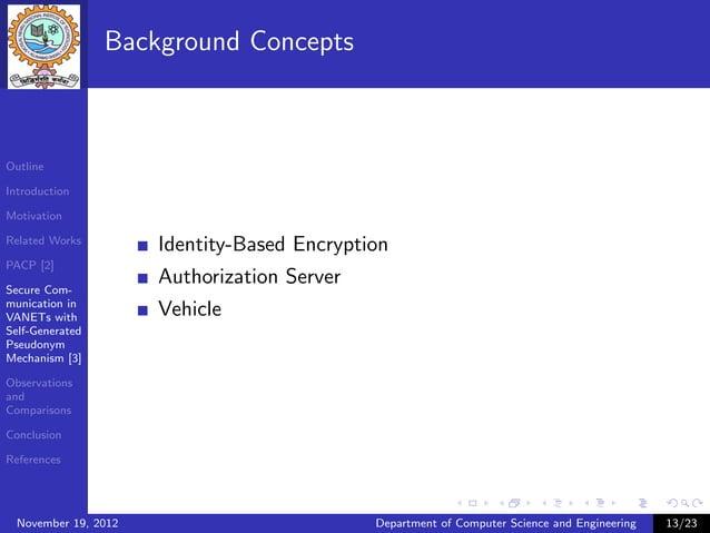 Background ConceptsOutlineIntroductionMotivationRelated Works                      Identity-Based EncryptionPACP [2]Secure...