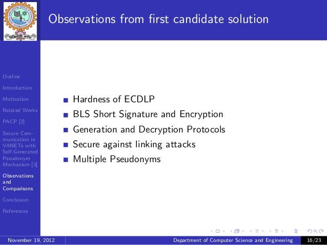 Observations from first candidate solutionOutlineIntroductionMotivation            Hardness of ECDLPRelated Works          ...