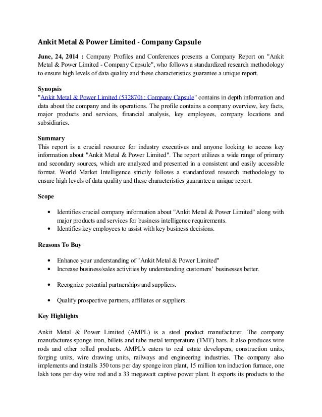 Ankit Metal & Power Limited - Company Capsule June, 24, 2014 : Company Profiles and Conferences presents a Company Report ...