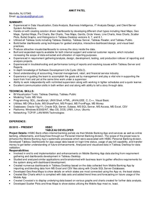 tableau developer sample resume