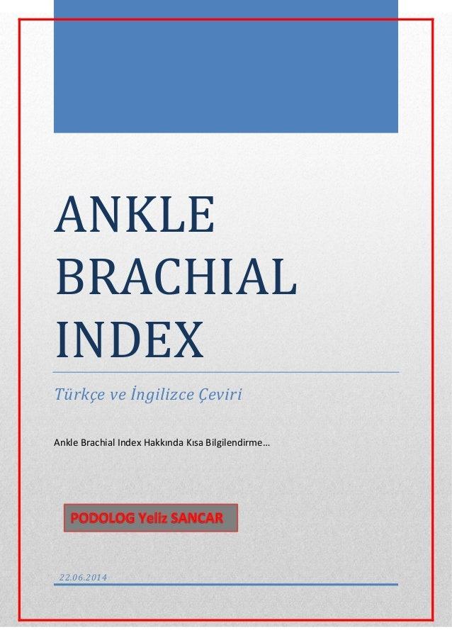 ANKLE BRACHIAL INDEX Türkçe ve İngilizce Çeviri Ankle Brachial Index Hakkında Kısa Bilgilendirme… 22.06.2014