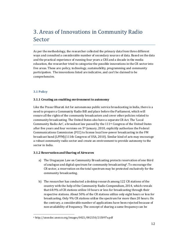 12  3. Areas of Innovations in Community Radio  Sector  As per the methodology, the researcher collected the primary data ...