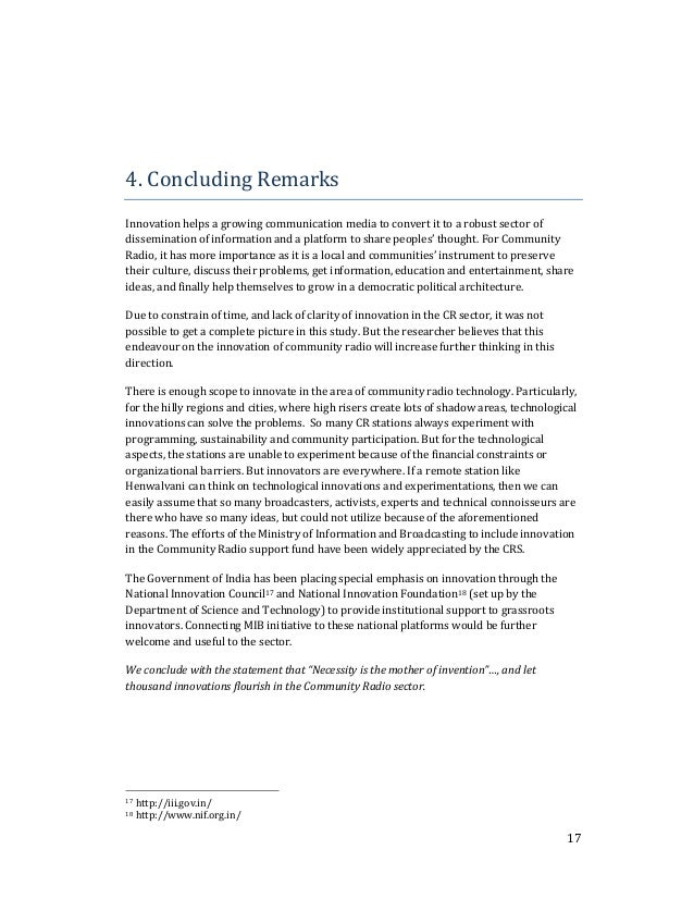 17  4. Concluding Remarks  Innovation helps a growing communication media to convert it to a robust sector of  disseminati...
