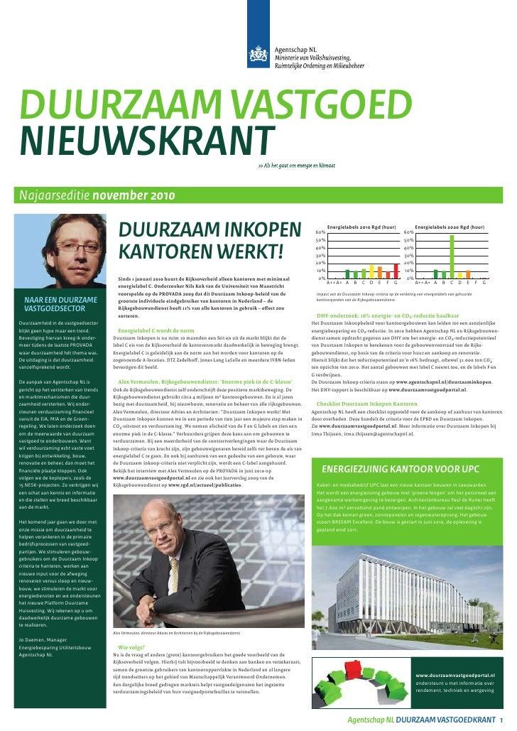 Duurzaam VastgoeDNieuwskraNtNajaarseditie november 2010                                          Duurzaam iNkopeN         ...