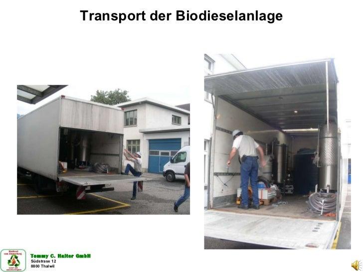 Transport der Biodieselanlage