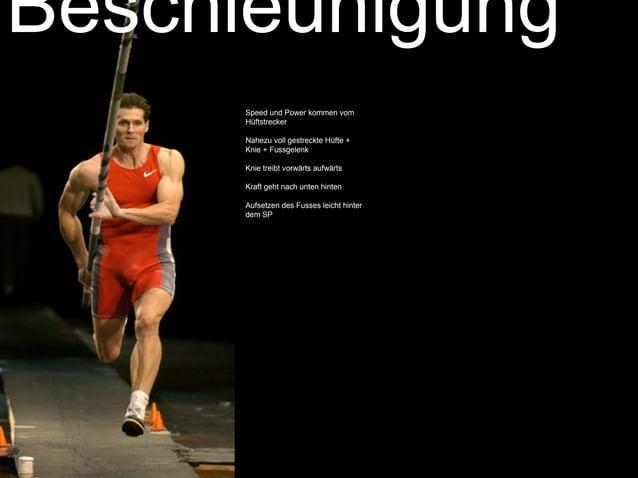 Beschleunigung  Speed und Power kommen vom  Hüftstrecker  Nahezu voll gestreckte Hüfte +  Knie + Fussgelenk  Knie treibt v...