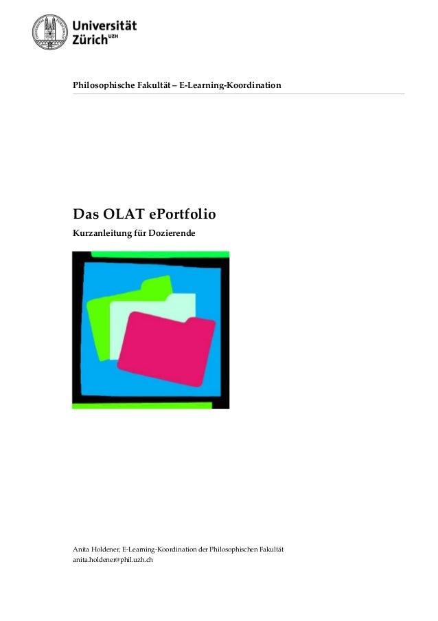PhilosophischeFakultät–E‐Learning‐Koordination  DasOLATePortfolio KurzanleitungfürDozierende         ...