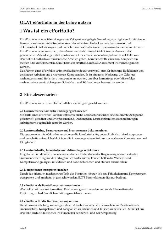 OLATePortfolioinderLehrenutzen DasOLATePortfolio WasisteinePortfolio? Seite3 UniversitätZürich,Juli2013...