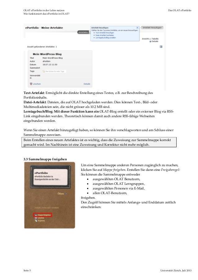 OLATePortfolioinderLehrenutzen DasOLATePortfolio WiefunktioniertdasePortfolioinOLAT? Seite5 UniversitätZ...